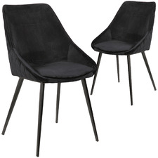 Black Khufra Velvet Dining Chairs (Set of 2)