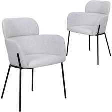 Light Grey Warrence Upholstered Dining Chairs (Set of 2)