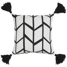 Picnic Black Cotton Cushion