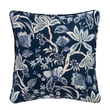 Navy Floria Cotton-Blend Cushion