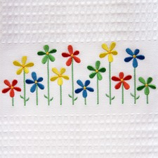 Spring Daisies Embroidered Tea Towel (Set of 3)