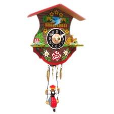 Swinging Girl Clock With Bluebird