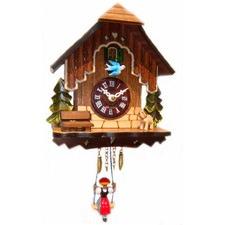Swinging Girl Clock Traditional With Bluebird
