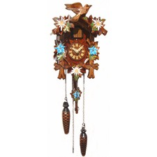 Hand Painted Blue Flowers Quartz Cuckoo Clock With Music