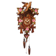 Musical Quartz Cuckoo Clock Pink Flowers