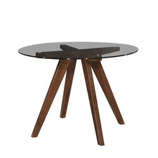 Walnut Amber Dining Table (Clear Glass)