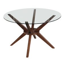 120cm Walnut Banza Round Dining Table