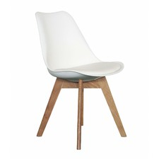 Oak and White Saba Dining Chair