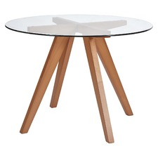 Hjordis Scandi Beech Wood & Glass-Top Dining Table