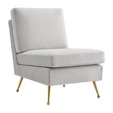 Light Grey Elise Velvet Lounge Chair