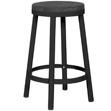 Black Emma Metal & Ash Wood Counter Stool