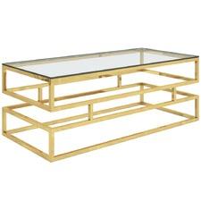 Gold Lenu Metal & Glass Coffee Table