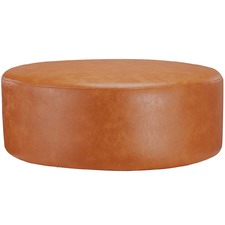 Large Round Victoria Faux Leather Ottoman