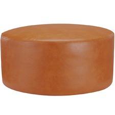 Medium Round Victoria Faux Leather Ottoman