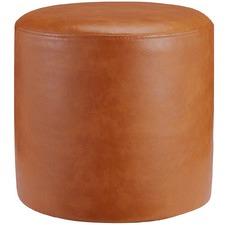Small Round Victoria Faux Leather Ottoman