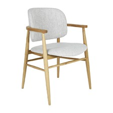 Light Grey Aura Fabric Dining Chair