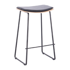 66cm Black & Oak Hopley Leather Barstool