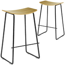 66cm Columbus Oak Wood Counter Stool (Set of 2)