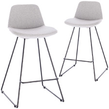 66cm  Reece Fabric Barstool with Black Legs (Set of 2)