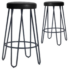 66cm Black Ramone Genuine Leather Barstools (Set of 2)