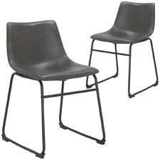 Dark Grey & Vintage Leatherette Omaha Dining Chair (Set of 2)