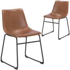 Omaha Tan Leatherette Dining Chair (Set of 2)
