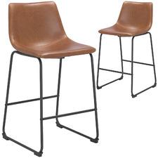 65cm  Black & Tan Leatherette Omaha Barstool (Set of 2)