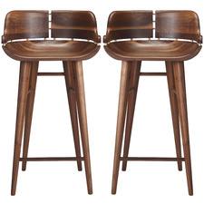 Naya Walnut Barstools with Backrest (Set of 2)