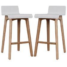 65cm Ede Plywood Low Back Barstools (Set of 2)