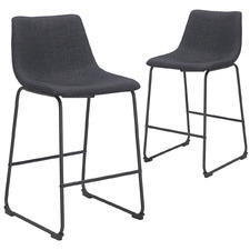 65cm  Black & Charcoal Omaha Barstools (Set of 2)