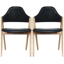 Genaro Leather Dining Chairs (Set of 2)