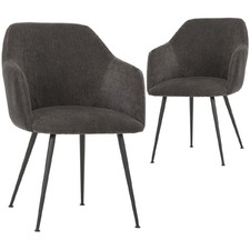 Ravi Velvet Dining Chairss with Arms (Set of 2)