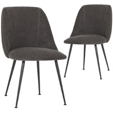 Ravi Velvet Dining Chairs with Metal Legs (Set of 2)