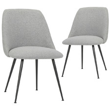 Grey Ravi Dining Chairs with Metal Legs (Set of 2)
