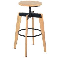 Natural Themis Rubberwood Adjustable Barstool