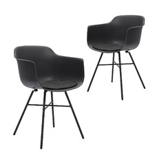 Tova Metal & Plastic Dining Chair with Arms (Set of 2)