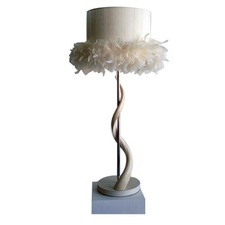80cm Kudu Inner Horn Tall Lamp Base in Cream