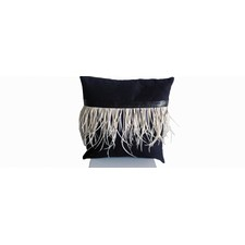 Mock Suede and Split Goose Feather Cushion in Black