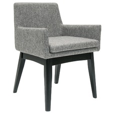 Pebble Grey & Black Stain Evy Dining Arm Chair (Set of 2)