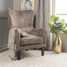 Light Brown High Back Fabric Armchair