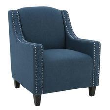 Dark Blue Davenport Fabric Armchair