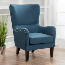 Dark Blue High Back Fabric Armchair