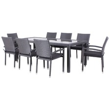 9 Piece Aluna PU Wicker Outdoor Dining Table Set
