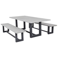 3 Piece Jervis Outdoor Concrete Dining Table Set