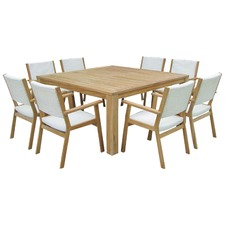 9 Piece Coral Square Outdoor Dining Table & Chair Set