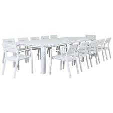 13 Piece Matt White Lazar Outdoor Dining Table & Chair Set