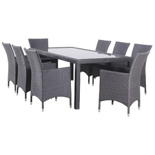 9 Piece Milan Outdoor Dining Table & Chair Set