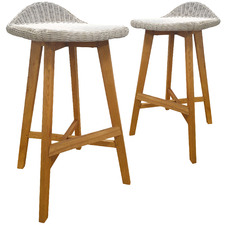 75cm Vienna Shorea Wood Outdoor Barstools (Set of 2)