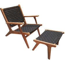 Kiama Wooden Outdoor Chair with Foot Stool
