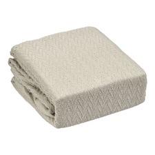 Taupe Cheshire Cotton Herringbone Blanket